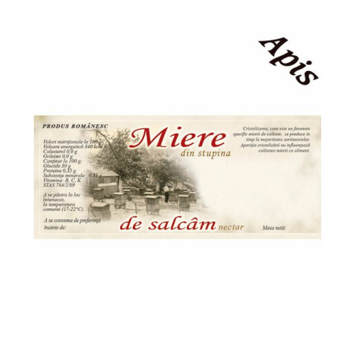 Eticheta Miere din stupina, de Salcam (116x50 mm)