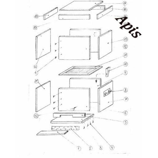 Kit: Stup din lemn PT. 10 rame, cu magazie de 3/4