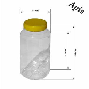 Borcan din plastic, hexagonal, 1 kg