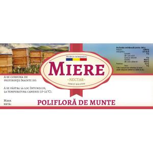 """Eticheta miere """"Poliflora de munte"""" (116x50 mm)"""