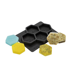 Matrita din silicon, pentru 4 sapunuri hexagonale