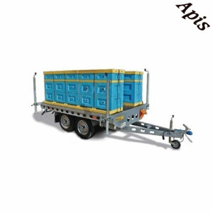 Platforma pentru stupi, cu 2 osii, 750 kg, 3000 x 1620 mm, cu sistem de franare
