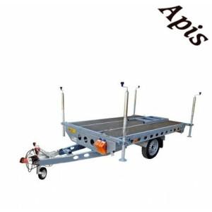 Platforma pentru stupi 750kg, 1 osie, 2600x1620mm, cu sistem de franare