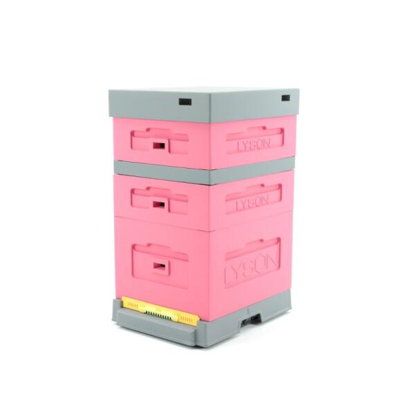 Stup din polistiren, cu fund antivarroua din plastic, roz